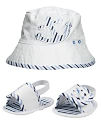 Baby Boy Nautical Anchor and Striped Reversible Bucket Sun Hat and Sandal Set