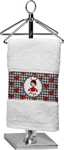 Ladybugs & Stripes Personalized Finger Tip Towel front-1016059