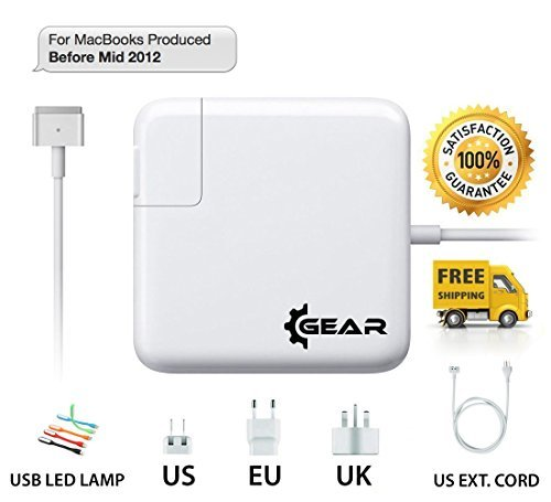 Macbook Pro / Air - Charger / Power Adapter / Supply / Cord - 85w / 60w / 45w AC - MagSafe 2 - T Style Tip - Gift: LED Lamp, US, UK, EU Plugs and US Extension Cord - for 17 / 15 / 13 / 11 inch Laptops