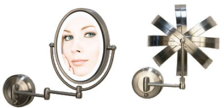 Zadro Next Generation Led Oval Wall Mirror, Satin Nickel, 1X-10X front-964476