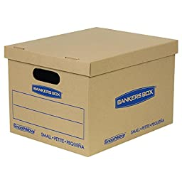 Bankers Box SmoothMove Classic Moving Boxes, Tape-Free Assembly, Small, 15 x 12 x 10 Inches, 15 Pack (7714209)