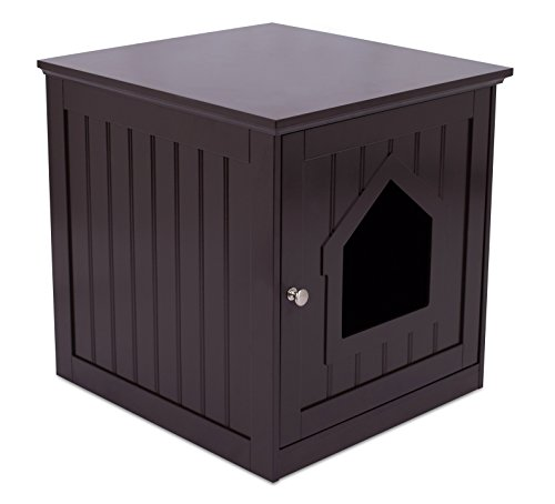 Internet's Best Decorative Cat House & Side Table | Cat Home Nightstand | Indoor Pet Crate | Litter Box Enclosure | Espresso