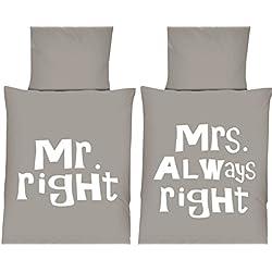 Mikrofaser WENDE Bettwäsche Set Schriftzug Mr. Right Mrs. Always Right grau-weiß 135 x 200 cm mit Reißverschluss