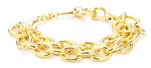 Privileged NYC Horsebit Gold plated Double Chain Bracelet 7""