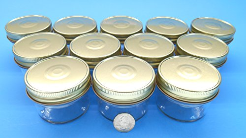 (Set of 12) 4 oz Mason Jars with Smooth Sides -Easy to Label with Gold Finished Safety Button Lids, Regular Mouth