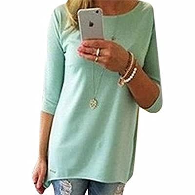 New Lady Retro 3/4 Sleeve Casual Large Size Long Tops Blouse Shirts Solid Color