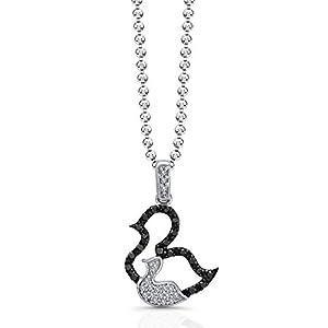 Victoria Kay 1/6ct Black and White Diamond Duck Pendant in Sterling Silver (JK, I2-I3), 18