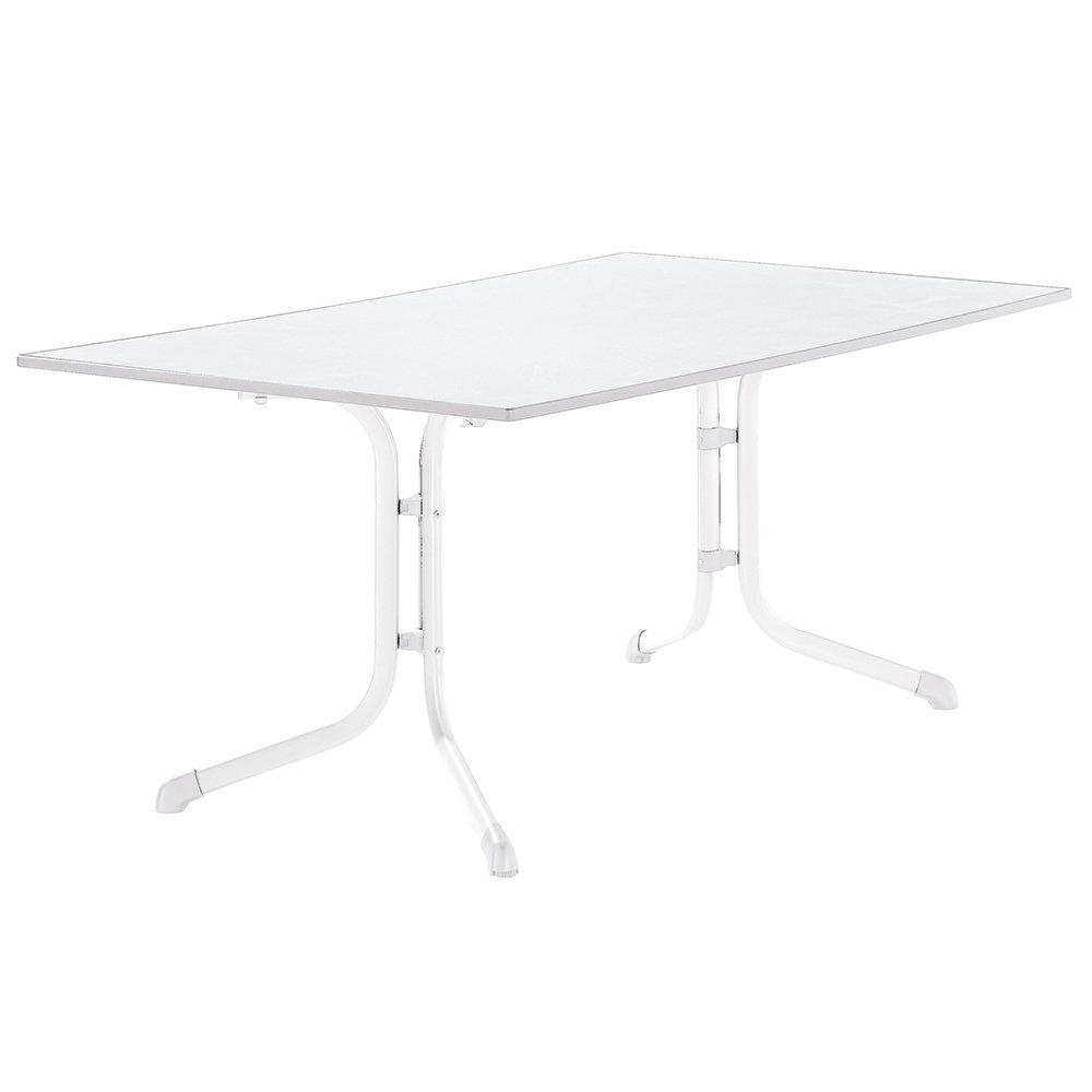 Sieger 1180-40 Boulevard-Tisch mit Puroplan-Platte 165 x 95 cm, Stahlrohrgestell weiß, Tischplatte Marmordekor weiß günstig online kaufen