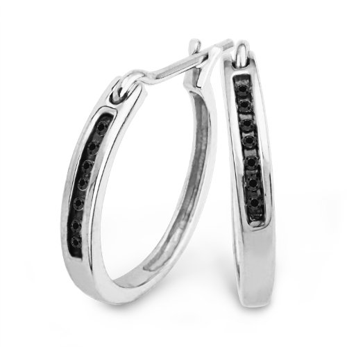 Platinum Plated Sterling Silver Black Round Diamond Hoop Earring (1/20 cttw)