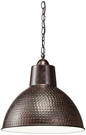 Kichler Lighting 78200 Missoula 1LT Swag Pendant, Bronze Finish with White Interior Shade