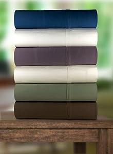 Magnolia Organics Bedding Sheet Set 350 Thread Count Sateen White w/White Marrowing, Queen