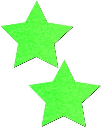 Star Nipple Pasties Neon Green & Glow-In-The-Dark Pastease O/S
