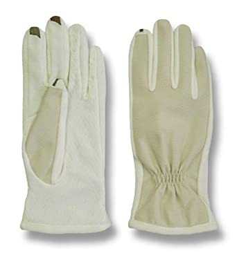 Isotoner Womens SmarTouch 2.0 Fleece Lined Stretch Gloves, Oyster, M/L