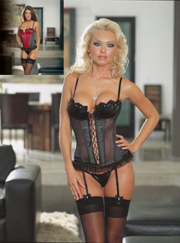 Dreamgirl Satin and Sheer underwire bustier