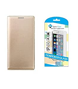 ZYNK CASE FLIP COVER GOLD WITH TEMPERED GLASS FOR LENOVO K6 POWER