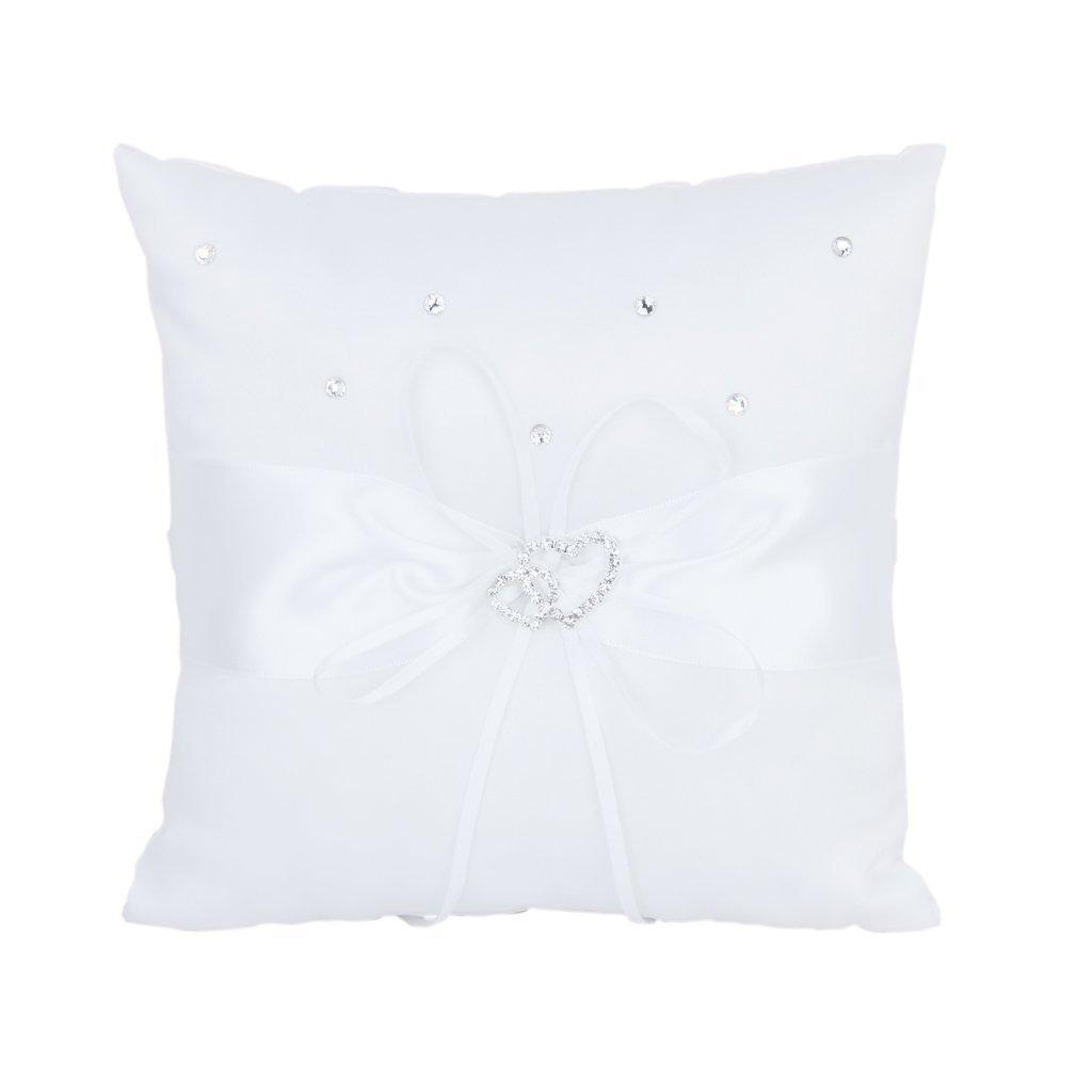 SODIAL(R) 20 x 20 cm doble boda del corazon de bolsillo del anillo portador almohada cojin --- s, color blanco   Revisión del cliente y la descripción más