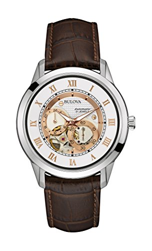 bulova-automatic-mens-automatic-watch-with-white-dial-analogue-display-and-brown-leather-strap-96a17