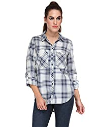 Kiosha White and Blue Checkered Shirt
