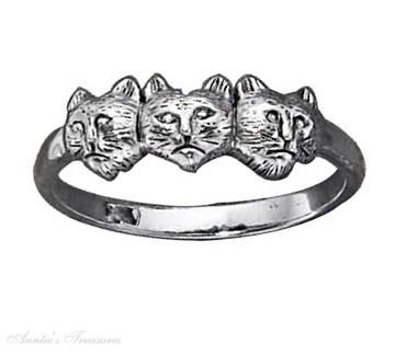 Sterling Silver Triple Cat Head Ring Size 6