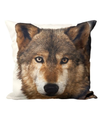 """Wolf Print Accent Decorative Throw Pillow Cover 100% Cotton Throw Pillow Cover Cushion 16 X 16"""" Gray, Brown, Black, Off White front-963149"""