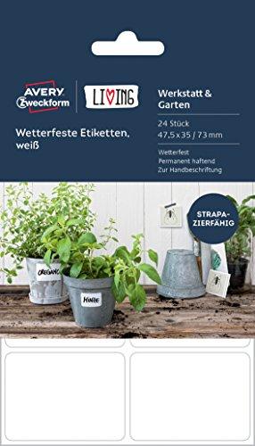 Avery Zweckform 62025 Living Wetterfeste Etiketten, 16 Stück a 47.5 x 35 mm /8 Stück a 47.5 x 73 mm, weiß