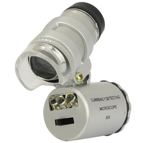 60X Mini Pocket Microscope Loupe 2 Led Lighted Magnifier + 1 Currency Detecting