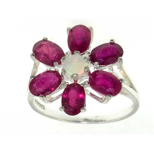 925 Sterling Silver Natural Opal and Ruby Womens Cluster Ring - Sizes 4 to 12 Available