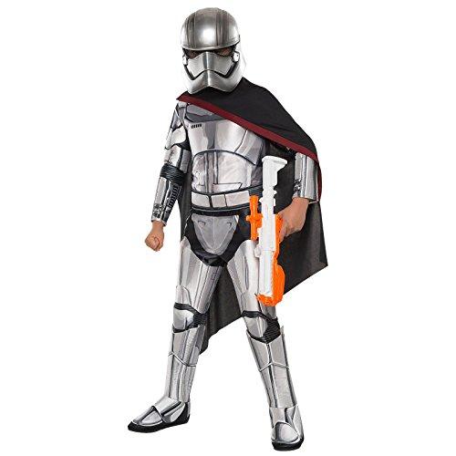 Star Wars - Costume deluxe di Capitan Phasma in 4 pezzi - Tuta, mantello, cinta, maschera - Colore argento - L