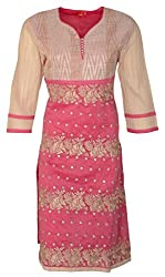 Zele Women's Straight Kurti (Z0016_Multi-Colour_Medium)