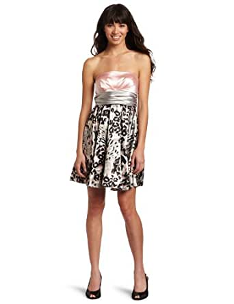Jump Juniors Strapless Blush Party Dress, Blush/Multi, 7/8