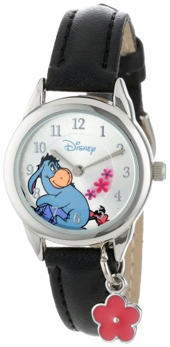 Disney Women's WTP053 Eeyore Black Leather Strap with Flower Charm Watch