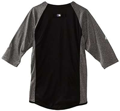 MLB Pittsburgh Pirates 3/4 Sleeve Crew Neck Featherweight Tech Fleece Pullover, Youth, Black/Grey