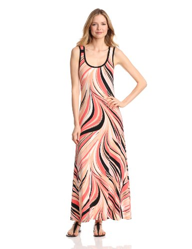 Calvin Klein Women's Printed Maxi Dress, Bellini/Black Multi, Small