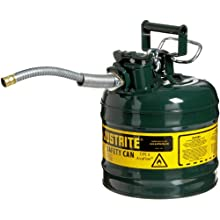 "Justrite AccuFlow 7220420 Type II Galvanized Steel Safety Can with 5/8"" Flexible Spout, 2 Gallons Capacity, Green"