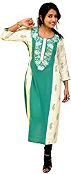 Nishika Women'S Linen Regular Fit Kurti (Ve214-R_Xl, Green, Xl )