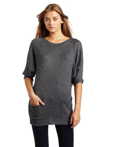 BCBGMAXAZRIA Women's Nevena Round Neck Sweater With Pockets, Medium Heather Grey, X-Small