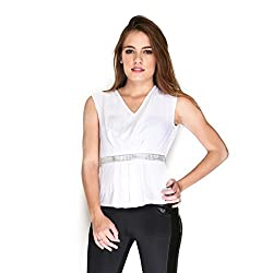 Hermosear White Colored Embelished Peplum Top