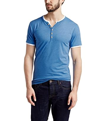 ESPRIT Men's V-Neck Short Sleeve T-Shirt -  Blue - XX-Large