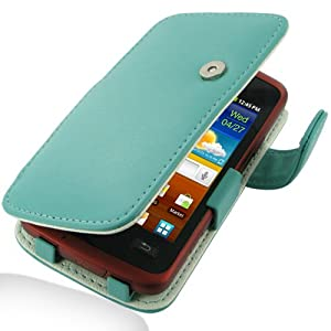 PDair Leather Case for Samsung Galaxy xCover GT-S5690 - Book Type (Aqua)