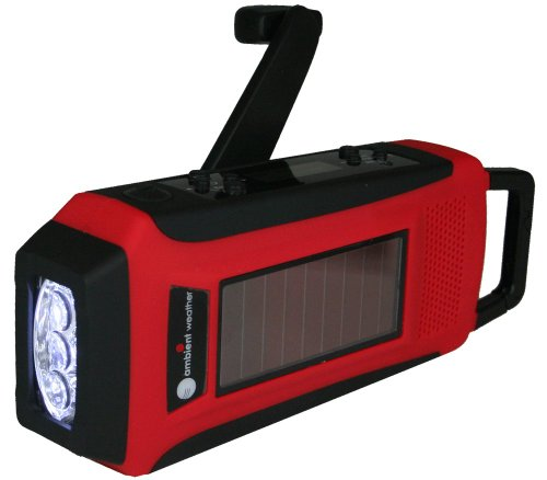Ambient Weather WR-099 Compact Emergency Solar Hand Crank AM/FM/WeatherBand Digital Radio, Flashlight, Cell Phone Charger and Cables