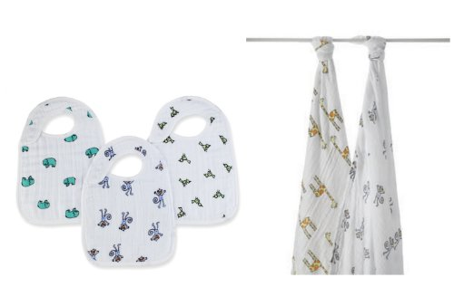 Aden and Anais 2 Pk Swaddle Blanket and Snap Bib-Jungle Jam