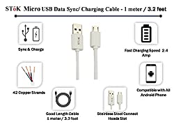 SToK 3.2 Feet/ 1 meter Micro USB Data and Charging Cable for Android / Windows, Power Bank and Samsung, Nokia, LG, Micromax, Sony and HTC