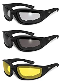 3 Pairs Kickback Foam Padded Motorcycle Sunglasses