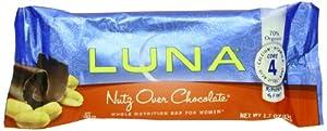 Luna Nutrition Bar, Nutz Over Chocolate, 1.7-Ounce Bars, 15-Count