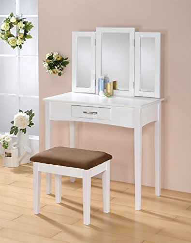 White Vanity With Mirror front-36628