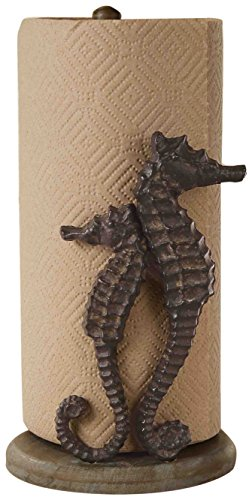 Mud Pie 4711006 Seahorse Paper Towel Holder, Brown