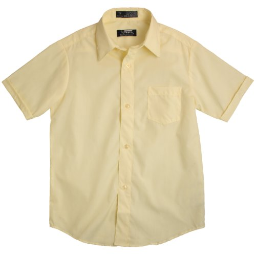 French Toast School Uniforms Short Sleeve Dress Shirt With Expandable Collar Boys Yellow 2T front-643029