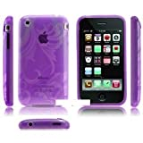 ORIGINAL iProtect APPLE Iphone 3 3GS FLORAL Silikon H�lle Case Tasche PURPLE / LILA Blumen H�lle