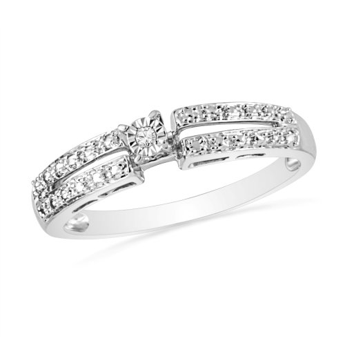 Platinum Plated Sterling Silver Round Diamond Promise Ring (0.01 Cttw)
