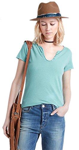 American Street Stilee Bottoni Neck stampato Sul Retro Graphic T-Shirt Maglietta Tee Top Superiore Cime Cima Verde S